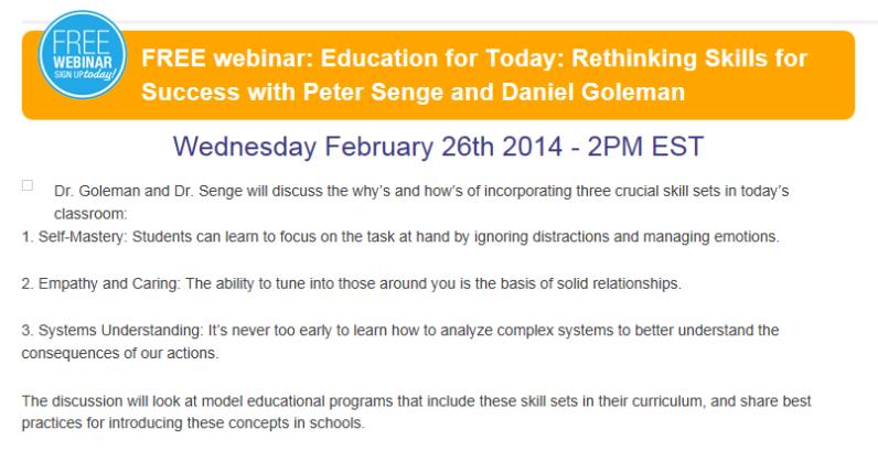 Daniel Goleman Webinar 26 February 2014