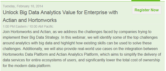 Webinar - Unlock Big Data Analytics - Hortonworks - 18 Feb